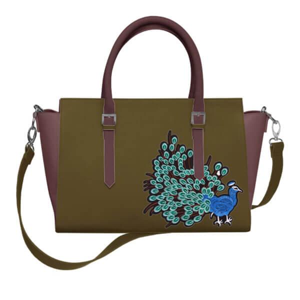 Femme – sac à main kaki mauve patch