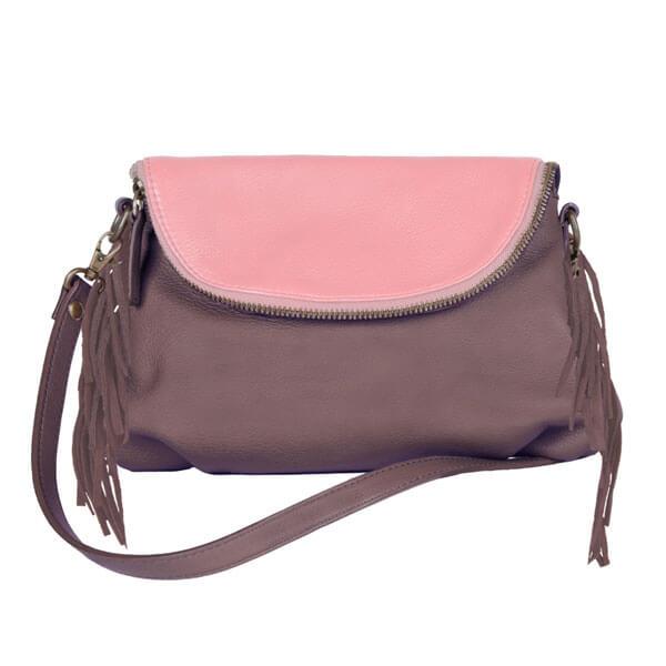 Femme – sac bandoulière mauve rose franges