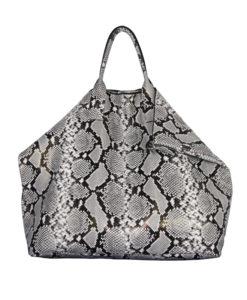 Maxi Shopper Souple ZOE Cuir impression python blanc noir Modèle Particulier