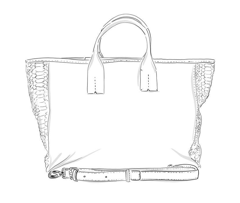 Grand Shopper Cuir Personnalisable- Manon - Modèle Particulier