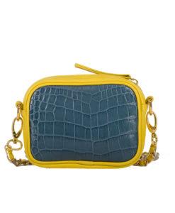 Petit Sac ELLA Cuir Grainé jaune et impression crocodile bleu Modèle Particulier