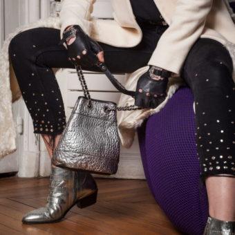 sac minuadière lola cuir métallisé lilas