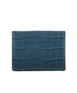 Porte Carte VLAD Cuir imprimé crocodile bleu Modèle Particulier