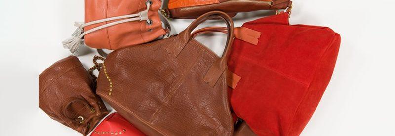 7 sacs de couleurs marron, cognac, corails, et beige
