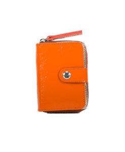 Porte Monnaie Zippé GAIA Cuir orange et argent Modèle Particulier