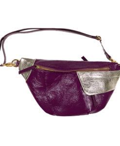 Banane Vitalie Cuir verni violet et mordoré Modèle Particulier