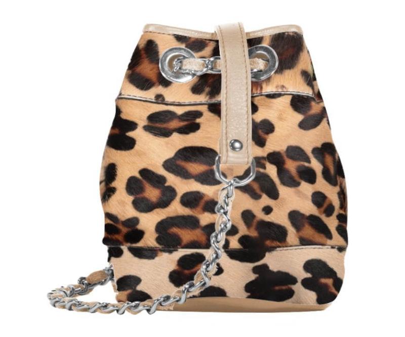 sac minaudière en cuir imprimé léopard