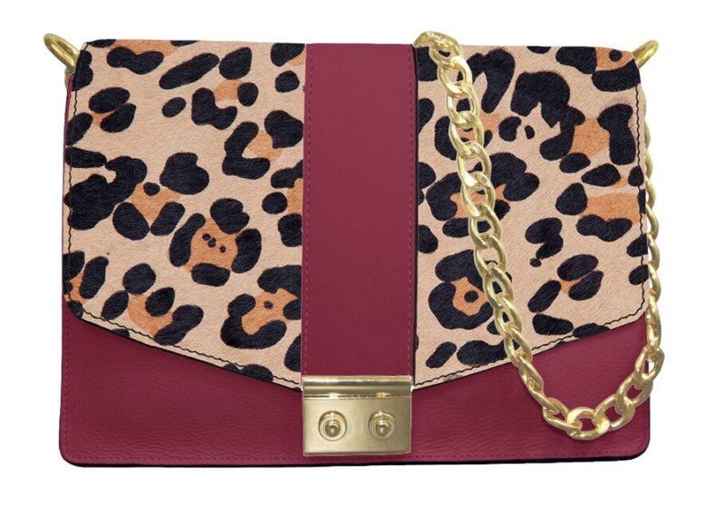 sac à chaine anna enc uir bordeaux et impression léopard