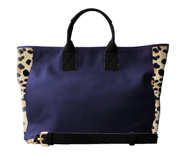 sac manon en cuir marine et léopard, et anse en cuir noir