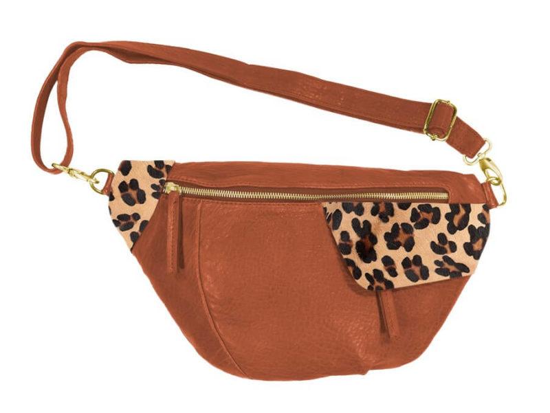 sac banane cognac et léopard